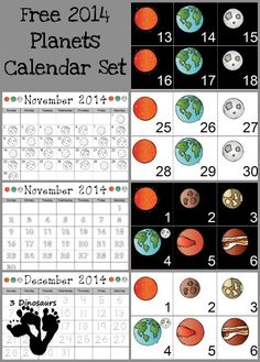 Free 2014 Planets Calendar Set | 3 Dinosaurs no Pluto in case you wondered
