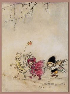 """""""Elves"""" (1913) by Arthur Rackham HIGH RESOLUTION """"Arthur Rackham's Book of Pictures"""" (1913) ... reminiscent of his fairies in A Midsummer Night's Dream (see next) Arthur Rackham Watercolor, pen & ink [English Golden Age Illustrator, 1867-1939] ______ My scan and digital restoration HIGH RESOLUTION """"Arthur Rackham's Book of Pictures"""" (1913..."""