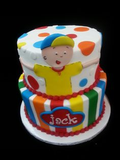 Caillou Cake Twin Birthday Parties, Baby Birthday, Birthday Cake, Birthday Ideas, Fondant Cakes, Cupcake Cakes, Party Cakes, No Bake Cake, Birthday Cakes