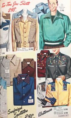 """A mix of sport knits, button downs, and pullover shirts . Sport shirts were made of knit or pre-shrunk cotton and synthetic fabrics that washed and wore easily. """"No iron"""" needed was a big selling point, mostly for house wives who were the primary purchasers of men's shirts."""