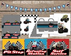 Mater Monster Truck Party Printable Pack Food by jenniferlynnamie, $14.99