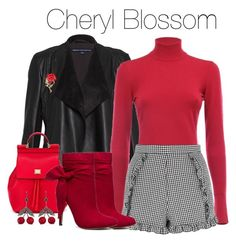 """Cheryl Blossom Inspired Outfit"" by demiwitch-of-mischief ❤ liked on Polyvore featuring French Connection, Dolce&Gabbana, Alaïa, Topshop and Axenoff Jewellery"