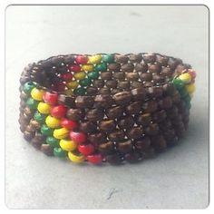 Rasta Coconut Wood Stretch Bracelet Hand Painted Rastafarian Jamaican Africa Hot | eBay