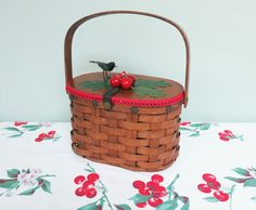 Vintage Woven Basket Handbag with Red Cherries Millinery by Tparty