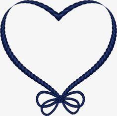 Simple marco en forma de corazón, Azul, Bow, Cuerda PNG Image and Clipart