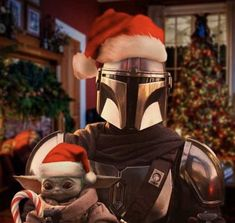 The Mandalorian and Baby Yoda Yoda Pictures, Yoda Images, Merry Christmas Baby, Star Wars Christmas, Christmas Hats, Christmas Costumes, Christmas Stuff, Christmas 2019, Family Christmas