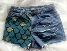 Any Size High Waisted Sparkle Mermaid Scales Distressed Frayed Denim Shorts on Etsy, 14,11€
