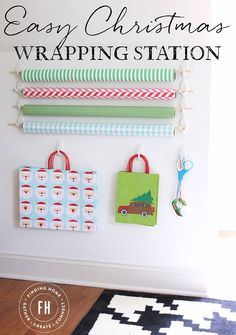 """Easy Christmas Gift Wrapping Station - this is the year to get all of the paper out from under the bed and get organized!  And take the pledge - """"Wrap as I Buy"""" so we are not hunched over wrapping on Christmas Eve!  #DamageFreeDIY #ad"""