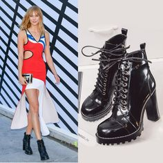 Chiko Renee Platform Chunky Heel Combat Boots feature round toe, lace up front, side zipper opening, three types of interchangeable shoe laces, platform chunky heel with rubber sole.