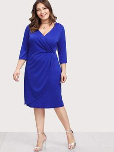 Color: Blue Material: Polyester Neckline: V neck Sleeve Length: Three Quarter Length Sleeve Dresses Length: Knee Length Silhouette: Sheath Pattern Type: Pl Fashion Advice, Fashion Outfits, Dresses With Sleeves, Sleeve Dresses, Skinny Girls, Wholesale Fashion, Wrap Style, Plus Size Women, What To Wear
