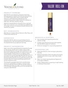 Bring the comfort of home with you by swiping on Valor Roll-On—a blend of mood-lifting Blue Tansy, grounding Frankincense, and invigorating Black Spruce essential oils. Blue Tansy Essential Oil, Thieves Essential Oil, Frankincense Essential Oil, Valor Essential Oil Uses, Valor Young Living, Young Living Thieves, Young Living Oils, Essential Oils For Babies, Therapeutic Grade Essential Oils