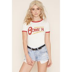 Forever 21 Women's Bowie Graphic Tee (€14) ❤ liked on Polyvore featuring tops, t-shirts, forever 21, forever 21 tee, short sleeve tee, graphic print t shirts, short sleeve tops and graphic t shirts