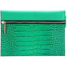 Victoria Beckham Small Zip Embossed Leather Clutch (904.680 COP) ❤ liked on Polyvore featuring bags, handbags, clutches, green, green purse, leather clutches, real leather purses, zipper purse and zip purse