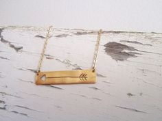Gold Arrow Necklace sideways arrow jewelry by JanuaryJewelryShop