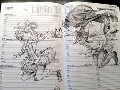 ✮ ANIME ART ✮ Puella Magi Madoka Magica. . .fan art in daily planner. . .anime girls. . .sketch. . .pencil. . .graphite. . .doodle. . .amazing detail. . .cute. . .kawaii
