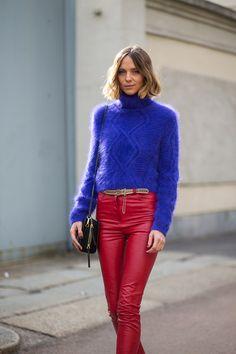 Milan fashion week street style: Fall 2015: Candela Novembre in Roberto Cavalli