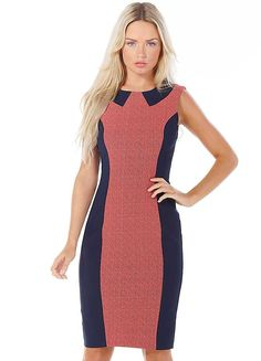 French Connection Bodycon Panel Dress - ycon shift dress with textured, contrast panelling to front and back. Concealed centre back zip. £160