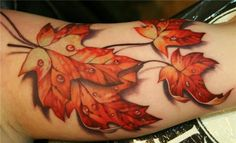 Fall leave - 30 Incredible Realistic Tattoo Designs  <3 <3