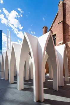 Palassis Architects' cathedral-like Cadogan Song School in Perth Installation Architecture, Australian Architecture, Architecture Awards, Church Architecture, Architecture Details, Installation Art, Facade Pattern, Pavilion Design, Church Design