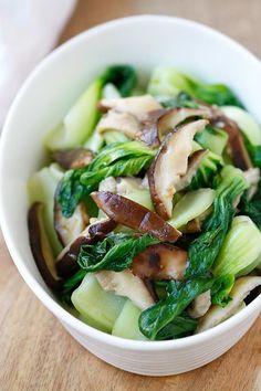 Garlic Mushroom Bok Choy - the easiest, healthiest, and best veggie dish with bok choy, mushroom and garlic. 3 ingredients & 10 minutes to make   rasamalaysia.com