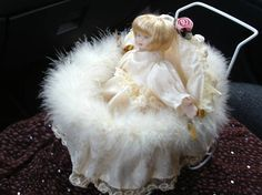 Lace Doll in Beautiful Carriage Shabby Chic Home Decor
