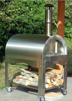 kitchen stainless steel wood burning oven   Stainless Steel Wood Fired Oven On Wheels