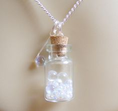 Bubbles and Wand Necklace, Bubble Necklace, Wish Bottle, Bubble Blower Necklace, Miniature Bottle, Mini Bottle Necklace, Bottle Pendant by NeatEats on Etsy https://www.etsy.com/listing/190080166/bubbles-and-wand-necklace-bubble