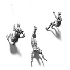 Climbing Gifts For Men Man Wall Sculpture Accent Art Iron Figures In Silver Copper Bronze Wall Sculptures, Sculpture Art, Grey And Gold Bedroom, Brown Leather Armchair, Accent Wall Decor, Contemporary Artwork, White Clay, Wall Colors, Silver Color