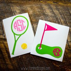 Tennis or Golf Monogrammed Sticker or Decal - Sports Monogram For Laptop, Car, Notebook, Etc.