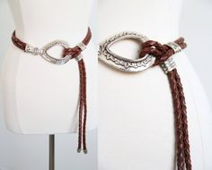 S A L E Vintage Bohemian Brown Leather Braided Belt by 601VINTAGE, $25.00