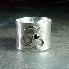 Ohm ring in sterling silver with black onyx.  Yoga jewelry from LavenderCottage on Etsy