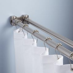 """KIDS BATHROOM: Straight Double Shower Curtain Rod.  Includes double bracket flanges and mounting hardware. Order 60"""" in brushed nickel and have Lee cut to exact  length (around 58"""")."""