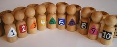 All Natural Educational Wooden Toy - Men in Pots - eco friendly toy
