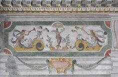 Pannello a grottesche S. Lagi e M.T. Montagna, affresco e tempera, 1634-35, Passaggetto di Urbano VII - Quirinale
