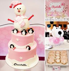 Dotted with penguins and snowmen and lots of pretty snowflakes this Pink Winter ONEderland Party by Zelicious is just precious!