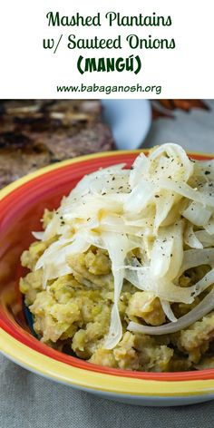 Mashed green plantains topped with sauteed onions. This is part of a typical Dominican breakfast, but we eat it as a side dish for dinner! Much healthier than plantains.