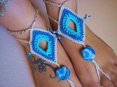 Sky blue barefoot sandles crochet beaded foot by JenitBoutique, $16.00
