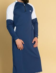 Extreme Longline Sweatshirt KameeSweat Thobe Kameez in Blue Muslim Men Clothing, African Clothing For Men, Islamic Clothing, Indian Men Fashion, Muslim Fashion, White Kurta Men, Jubbah Men, Men Wearing Dresses, Kurta Patterns