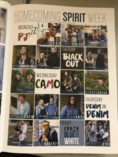 Shows others clearly what the spirit days were without leaving them guessing.Also is a simple yet organized layout so no complication would arise a fun way to layout spirit, homecoming, or senior week spreads. Student Life Yearbook, Yearbook Mods, Middle School Yearbook, Teaching Yearbook, Yearbook Staff, Yearbook Pages, Yearbook Spreads, Yearbook Covers, Yearbook Theme