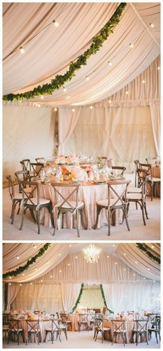 Love this super pretty tented wedding decor