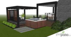 Custom design of a contemporary style outdoor living area that … - Home & DIY Outdoor Fencing, Patio Fence, Patio Roof, Patio Plans, Pergola Plans, Pergola Ideas, Deck With Pergola, Pergola Shade, Modern Patio Design