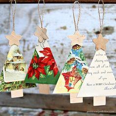 Christmas Tree Ornaments Petticoat Junktion Handmade Christmas Tree, Christmas Card Crafts, Christmas Ornaments To Make, Vintage Christmas Cards, Homemade Christmas, Vintage Cards, Holiday Crafts, Christmas Holidays, Christmas Decorations