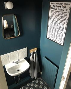 I've gone full blue on blue in the small downstairs toilet. Even the ceiling matches the walls. Small Downstairs Toilet, Small Toilet Room, New Toilet, Downstairs Bathroom, Small Bathroom, Bathroom Ideas, Cloakroom Ideas, Bathroom Inspo, Understairs Toilet