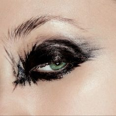 Glossy smudged eye makeup