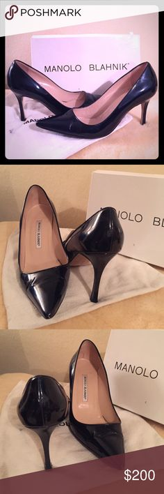 """Authentic Manolo Blahnik BB Pumps Dark navy patent BB pumps. Classic Manolo design. Heel is approx 3 1/2"""". Comes with box and dust bag but box is a little beat up. There is some light creasing at the pointed toe. Other than that these are in great shape! Size 38 Manolo Blahnik Shoes Heels"""