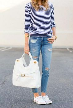 c2444579c1a4 25 Incredible Spring Outfits with White Sneakers Ideas · Blue Converse ...