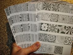 Great reference cards for tangle doodling (aka zentangles) for our homeschool art time. I printed her 8X10 ones and will have them spiral bound at Office Max for just a few bucks. ~ Joy