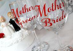 Wedding party wine glass, mother of the groom wine glass, mother of the bride wine glass, personalized, wedding wine glass, MOB, MOG, gift