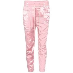 Haider Ackermann Satin Cropped Trousers ($615) ❤ liked on Polyvore featuring pants, capris, haider ackermann, pink, cropped trousers, satin trousers, pink crop pants, pink trousers and cropped capri pants