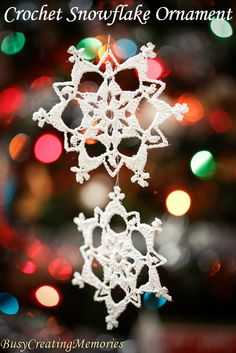 This easy Lace Crochet Snowflake Christmas Ornament Pattern makes beautiful…